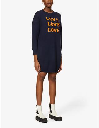 NEVER FULLY DRESSED Love slogan-print knitted mini dress