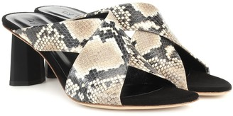 BY FAR Jaz snake-effect leather sandals