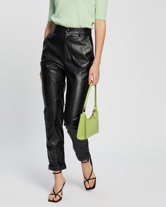 Missguided Faux Leather Turn-Up Hem Cigarette Pants
