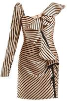 Self Portrait Self-portrait - Asymmetric Striped Satin Mini Dress - Womens - Black Gold