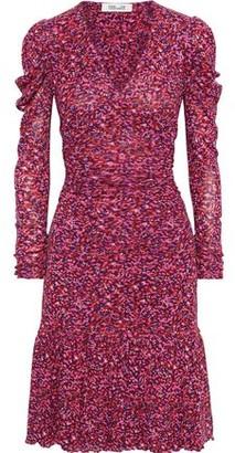 Diane von Furstenberg Alyssa Gathered Floral-print Stretch-mesh Dress
