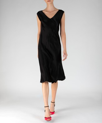 Atm Satin V-Neck Shift Dress - Black