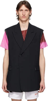 Raf Simons Black Wool Double-Breasted Sleeveless Blazer