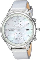 Citizen Women's Pearl Chronograph Silver Leather Watch, 39mm