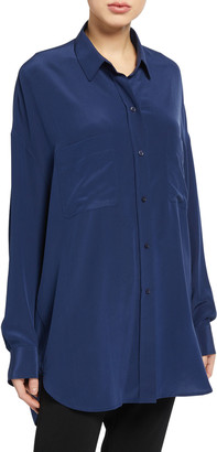 Vince Oversized Button-Front Silk Blouse