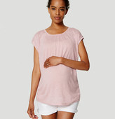 LOFT Petite Maternity Shirred Linen Tee