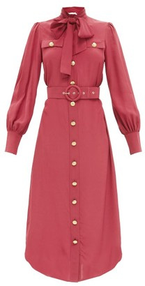 Zimmermann Pussy-bow Belted Silk-crepe Midi Dress - Burgundy