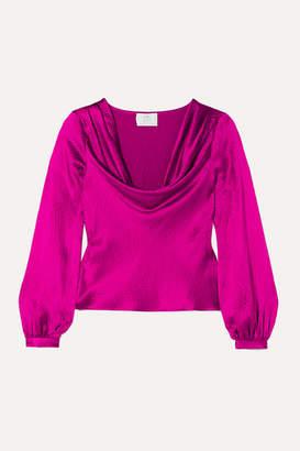 Rebecca De Ravenel Draped Textured-silk Blouse - Magenta