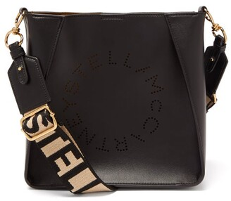 Stella McCartney Mini Logo-strap Faux-leather Shoulder Bag - Black