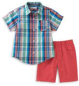 Kids Headquarters Baby Boys Plaid Sportshirt and Shorts Set