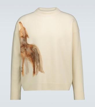 Jil Sander Wolf-print wool mock neck sweater