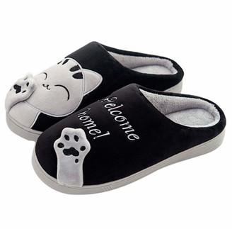 JoWebb Women/Mens Slippers Winter Cotton Warm Slipper Indoor Faux Fur Shoes for Girls Ladies Kids Black