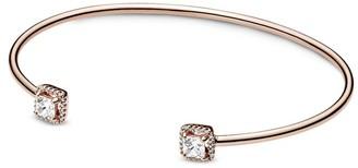 Pandora 14K Rose Gold Plated Cz Square Bangle Bracelet
