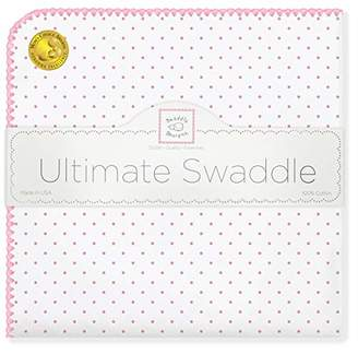 Swaddle Designs Ultimate Winter Swaddle, X-Large Receiving Blanket, Made in USA, Premium Cotton Flannel, Pink Classic Polka Dots (Mom's Choice Award Winner)