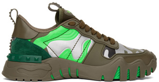 Valentino Green and Silver Garavani Camo Rockrunner Sneakers