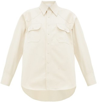 Matthew Adams Dolan - Western Side-pleat Denim Shirt - Ivory