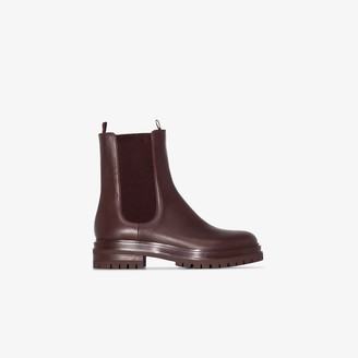 Gianvito Rossi burgundy Chester leather ankle boots