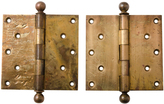 Rejuvenation Well-Worn Wrought Brass Door Hinges
