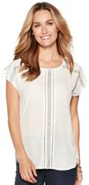 M&Co Lace woven panel jersey top