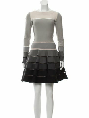 Alaia Wool Fit & Flare Dress Grey