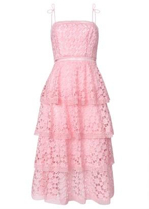 True Decadence Pink Organza Cut Work Lace Tiered Midi Dress