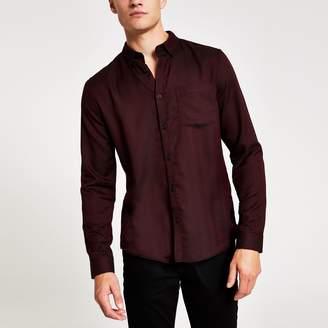 River Island Mens Red slim fit textuRed herringbone shirt