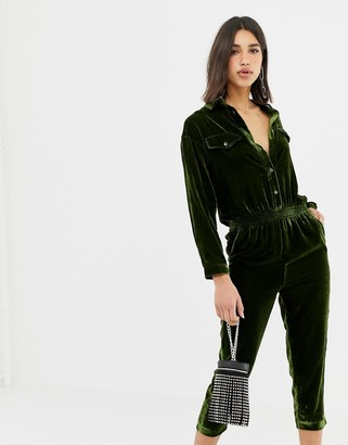 Miss Sixty velvet jumpsuit with back logo-Green
