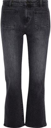 Current/Elliott The Cropped Boot Faded Mid-rise Bootcut Jeans