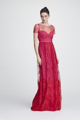 Marchesa Notte Short Sleeve Chiffon and Lace Evening Gown