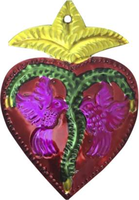 W.A.Green - Ex Voto Sacred Mexican Hearts With Birds - Red/Purple/Green
