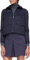 Tory Burch Lane Back-Pleated Bifabric Jacket