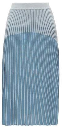 Balmain Ribbed Jacquard-knit Midi Skirt - Womens - Blue Multi