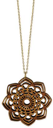Zad ZAD Women's Necklaces mandala - Wood & Goldtone Openwork Medallion Pendant Necklace