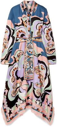 Emilio Pucci Edie Fringed Printed Silk-twill Midi Dress - Lilac