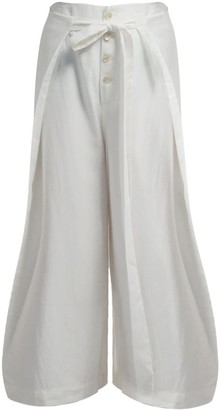 Gisy Sonnet Cream White Silk Wrap Palazzo Pants