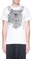 Adidas X Kolor 'FREELIFT' lettering tiger print performance T-shirt