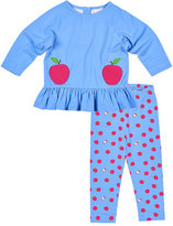 Florence Eiseman French Terry Top w/ Apple-Printed Leggings, Size 2-6X