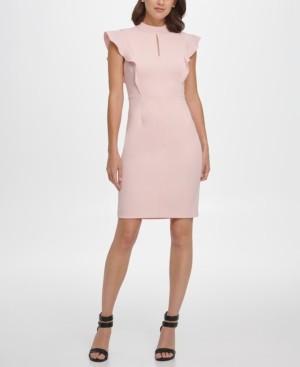 DKNY Ruffle Sleeve Mock Neck Sheath Dress