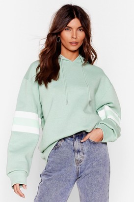 Nasty Gal Womens That's All Stripe Contrast Oversized Hoodie - Green - M