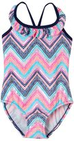 Osh Kosh Girls 4-6x Chevron Ruffle One-Piece Swimsuit