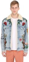 Gucci Patches Cotton Denim & Shearling Jacket