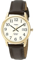 Timex Classic EZRead Analog Gold Case Brown Leather Strap Watch