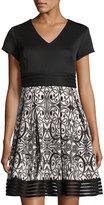 Taylor Boteh-Print A-Line Dress, Black/Pink