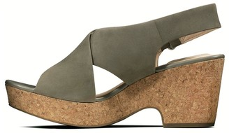 Clarks Maritsa Lara Leather Wedge Sandal - Sage