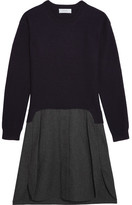 Carven Two-tone Wool Dress - Navy