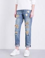 MICHAEL Michael Kors Crystal-detail distressed straight-leg jeans