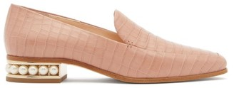 Nicholas Kirkwood Casati Pearl-heel Croc-effect Leather Loafers - Light Pink