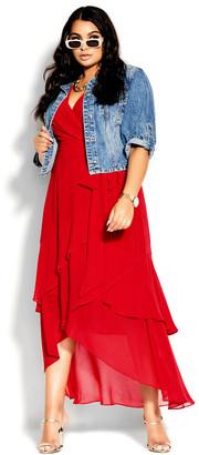 City Chic Flirty Tier Maxi Dress - lipstick