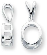 FindingKing Sterling Silver Oval Pendant Setting 9mm