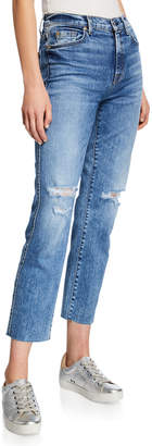 7 For All Mankind Edie Ripped High-Rise Cropped Jeans